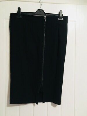 Autograph Marks And Spencers  Black Front Zip Heavy Material Size 12 Smart Work