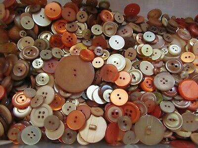 1 lb Lot Shades of Orange Antique Vintage Modern Mix of Sewing Buttons