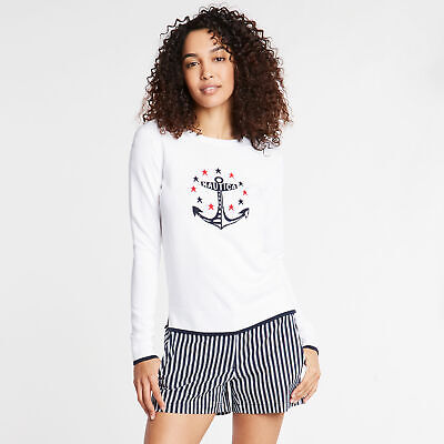 Nautica Womens Cotton & Modal Sweater In Intarsia Anchor