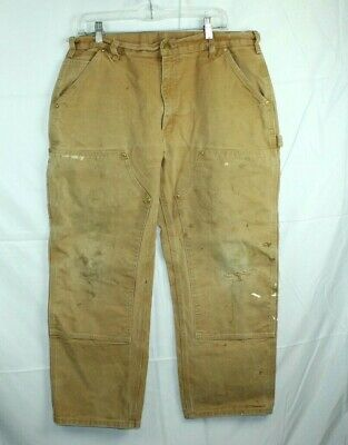 Carhartt B01 Jeans Double Knee Duck Dungarees Cotton Canvas Work USA 36 x 29 Tan