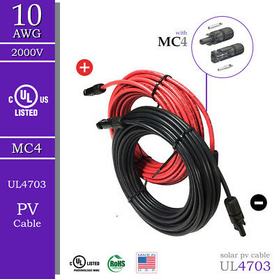 Solar PV Cable Set with Red & Black Wires, MC4 - 10 AWG - UL 4703- 2000V
