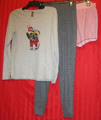Women's Ambrielle 3-Piece Thermal Pajama Lounge Set Gray Red Size S NWT