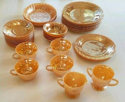 37 Pc Vintage Fire King Peach Luster Ware Laurel & Shell Anchor Hocking Lustre