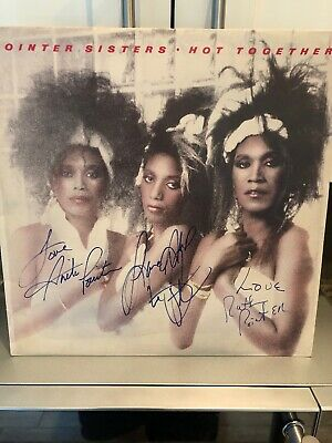 RARE POINTER SISTERS FULLY SIGNED Signed Album Hot Together JUNE RUTH AND ANITA