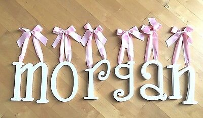 "9"" white painted girls wooden wall letters MORGAN pink satin ribbon whimsical"