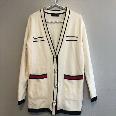 e3b152fa Zara Knit Women's Long Color Block V 4 Button Cardigan Size M bloggers fave