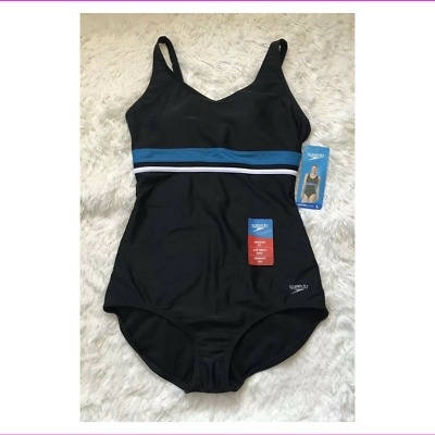 cb143e4a711 $84 SPEEDO WOMEN'S High Neck Piped One Piece Fitness Swimsuit, Dusk ...