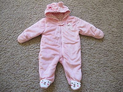 2bdd85cd4 One Piece Pink Bear Fleece Snow Suit By Child Of Mine Carters Size 3-6Mos