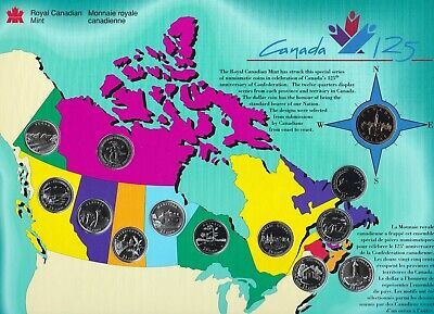 1992 Canada 125th Anniversary Provincial Colourfull Map 13 Coin Set!!