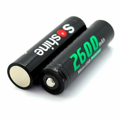 2PCS Li-ion 18650 Battery USB Charging Port 2600mAh Short Circuit Protection DC