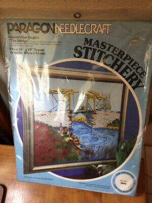 "Paragon Crewel Stitchery Kit # 0806~ ""The Bridge"" ~  Van Gogh ~NEW~"