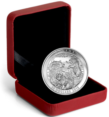 2015 Canada $20 Dollars 1 Oz. 9999 silver Grizzly Bear Family Proof