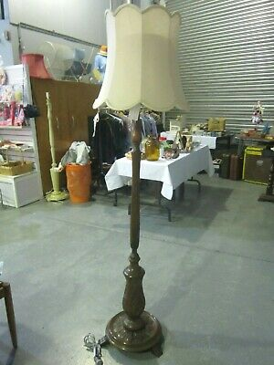 Unique Vintage Art Deco Carved Timber Standard Floor Lamp With Ivory Shade