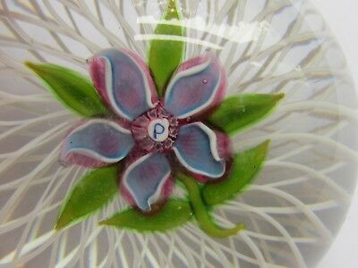 PERTHSHIRE LAMPWORK CLEMATIS ON A BASKET PAPERWEIGHT 1973 LTD ED (Ref3428)