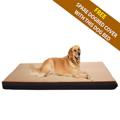 Cosipet® Large Waterproof Foam Pad Brown Fleece Dog Bed Free Spare Cover !!!!!