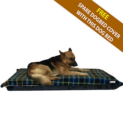 Cosipet® Large Waterproof Foam Pad Blue check Fleece Dog Bed Free Spare Cover
