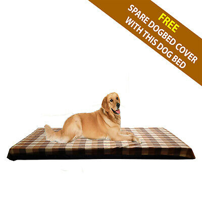 Cosipet® Large Waterproof Foam Pad Brown Check Fleece Dog Bed Free Spare Cover