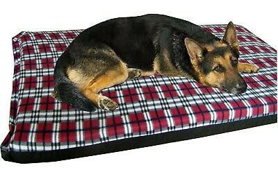 Cosipet® Large Waterproof Foam Pad Red Plaid  Fleece Dog Bed Free Spare Cover