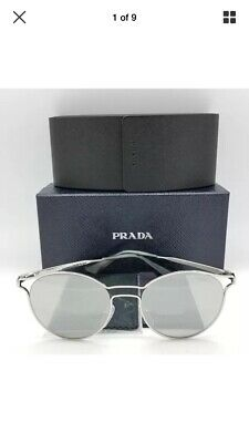 95d166036d Prada sunglasses PR62SS 1BC2B0 Cinema Silver Grey Mirror Round Wire 53mm 62