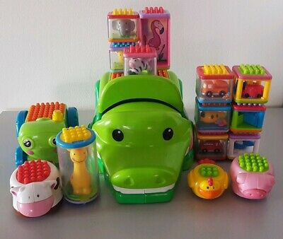 Fisher Price Peek A Boo Stacking Bristle Blocks With Crocodile ( 16 Pieces )...