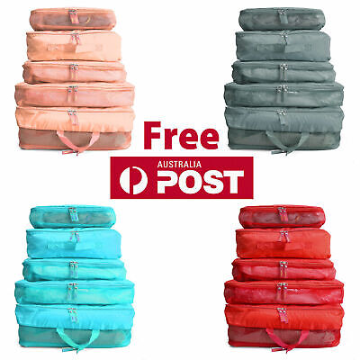 5Pcs Packing Cubes Travel Pouches Luggage Organiser Storage Bag Clothes Suitcase