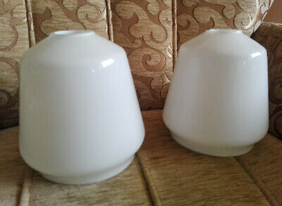 Two Vintage white glass lamp shades