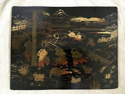 Japanese Lacquer Panel Antique Wooden Lacquered Victorian Meiji Large Screen
