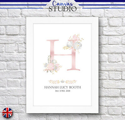 A4 Framed Personalised New Born Baby Name Birth Nursery Christening Gift Print