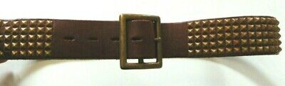 HOLLYWOOD TRADING CO. Brown Leather Belt  w/ Brass Buckle + Studs - Size 34