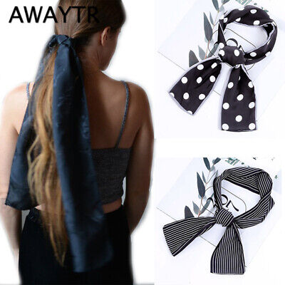 Women Silk Satin Small Vintage Hair Tie Band Head Neck Square Scarf