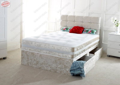 3FT 4FT 4FT6 Double 5FT AND 6FT CRUSHED VELVET DIVAN BED WITH MEMORY MATTRESS