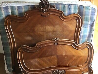 Antique French Louis XV Style Carved Ornate Bed Frame
