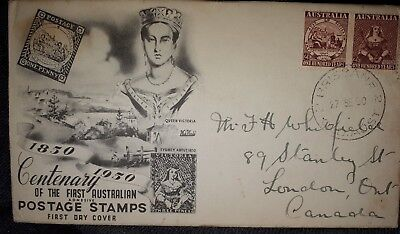 """*AUSTRALIA-FIRST DAY COVER- """"CENTENARY FIRST AUSTRALIAN POSTAGE STAMP""""2 X 2 1/2d"""