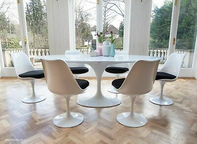 Set - 200cm x 120cm White Laminate Oval Table & 6 Tulip Side Chairs