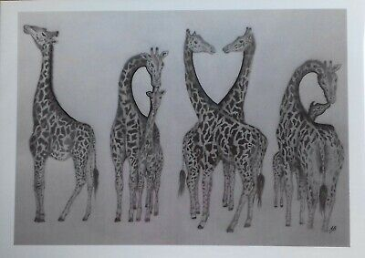"GIRAFFE ""LOVE"" Gift Original Animal Wall Art Picture Drawing Baby A5 Print Decor"