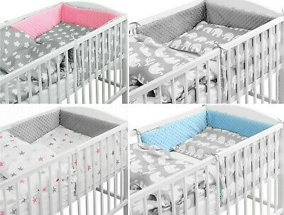 LUXURY BABY SOFT DIMPLE BEDDING SET 3 5 6 PCS BUMPER PILLOW DUVET FIT COT 120x60