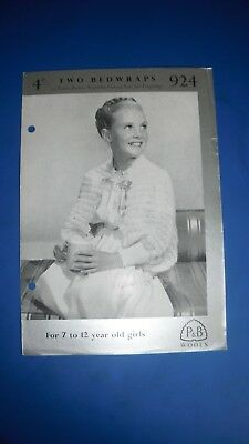 Vintage Patons Child's Bed Wraps Knitting Pattern 924