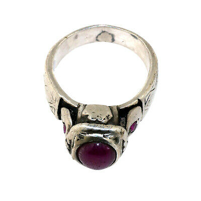 (2495) Antique silver and ruby ring.