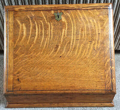 Quality Antique Oak Folding Stationary Box Writing Slope Circa 1910