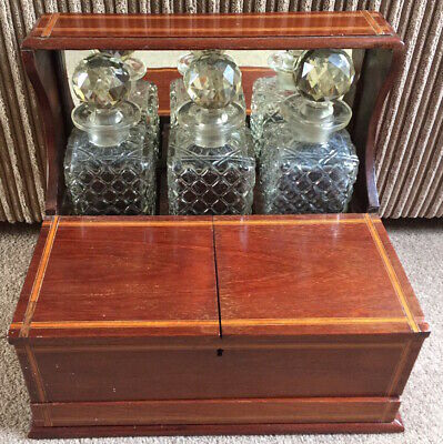 Quality Mahogany Cased 3 bottle Tantalus Circa 1900