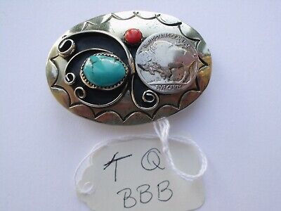 Belt Buckle Small 1 Nickles 1-Turquoise 1-Coral Southwest Nos Vintage Tq-Bbb