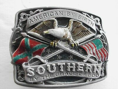 Belt Buckle 3D Enamel American By Birth Southern By The Grace Of God Vintage Usa