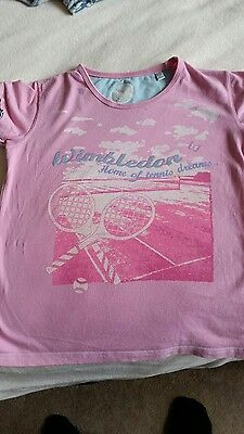 Pink girls Wimbledon t-shirt, age 11-13 (though quite small).