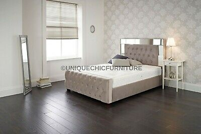 Made To Order Luxury Mirrored Edge Buttoned 4ft 6 Double Bed Upholstered