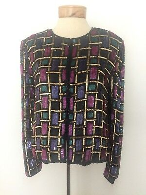 Vintage Papell Boutique Evening Sequin Beaded Silk Jacket Size 8 Blk Multicolor