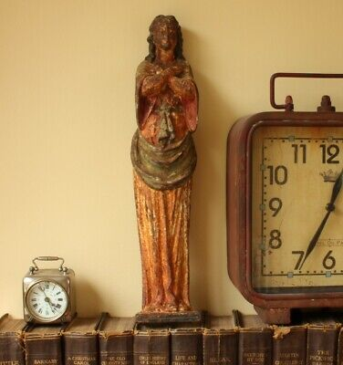 Vintage Cast Iron Virgin Mary Figure. Religious Wall Hanging Statue Ornament