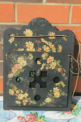 Lacquered Antique Victorian Paper Mache Hanging Letter/ Newspaper/ Magazine Rack
