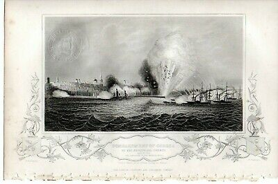 Antique Victorian Engraving Crimean War Vintage c1860 Bombardment  Odessa 2