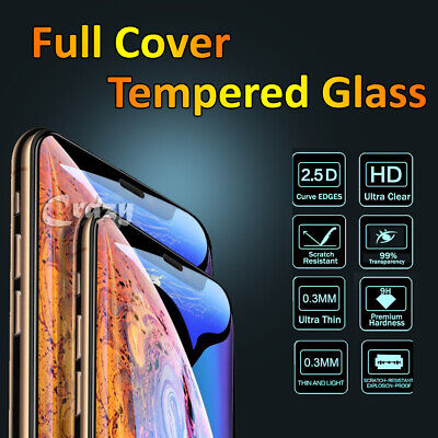 Apple iPhone X XS Max XR 7 8 Plus Full Coverage Tempered Glass Screen Protector