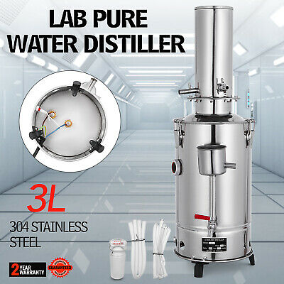 3L Lab Pure Water Distiller Stainless Steel Water Purifier Easy Install Medical
